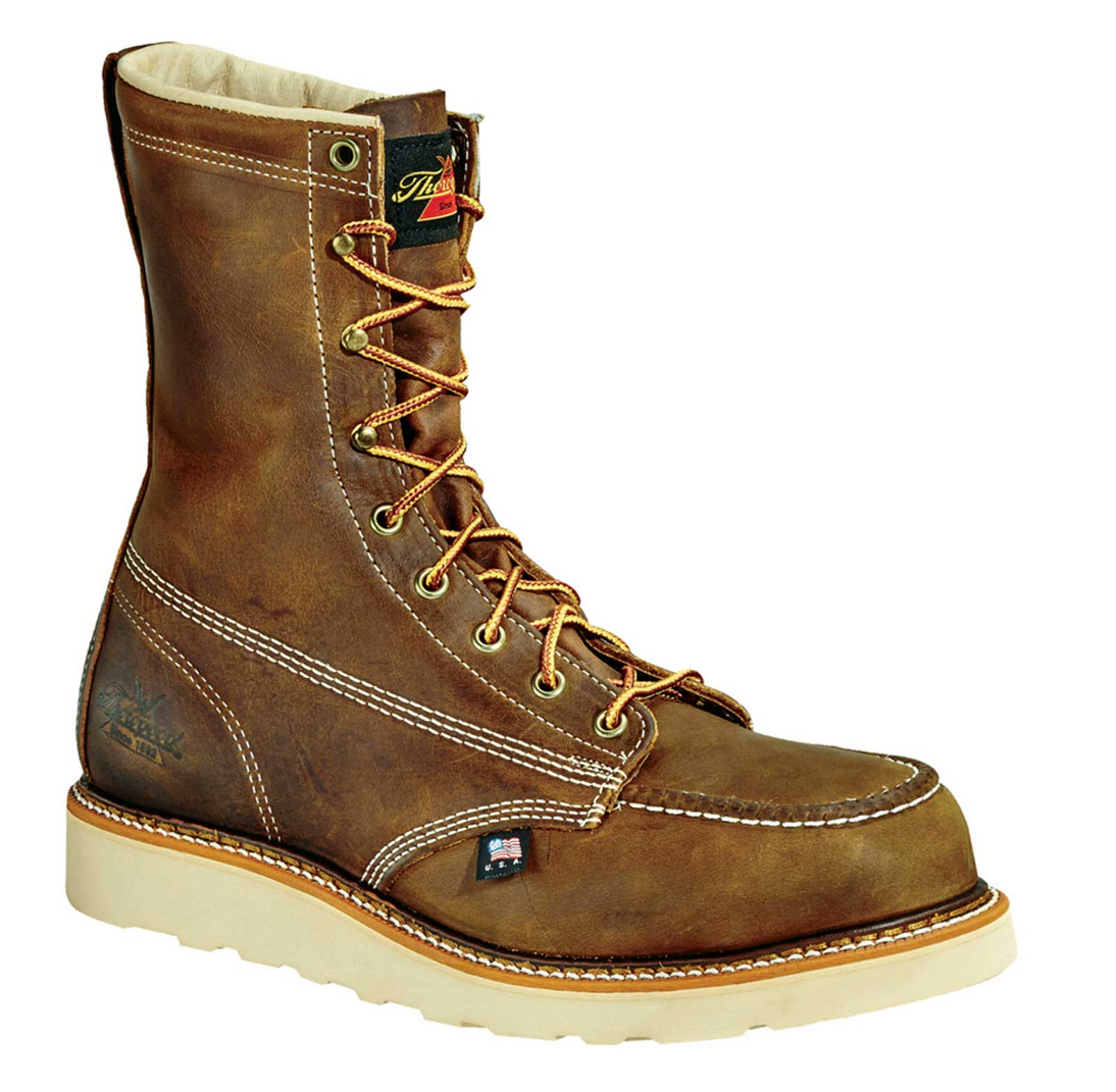 thorogood 8 quot steel toe wedge sole work boot u s a made