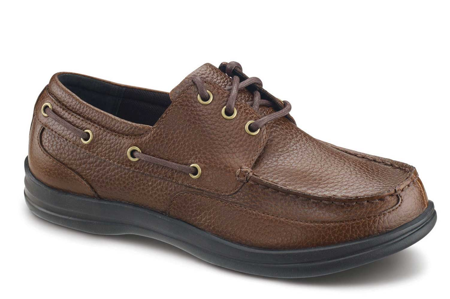 Apex Shoes Classic Lace Boat Shoe A1100M - Men's Comfort Therapeutic Boat Shoe - Medium (C) - Extra Wide (4E) - Extra Depth for Orthotics