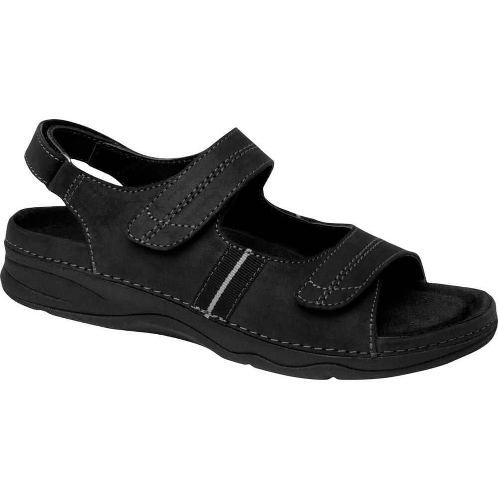 Black sandals with straps -  Drew Shoes Dora Black Nubuck Leather Sandal