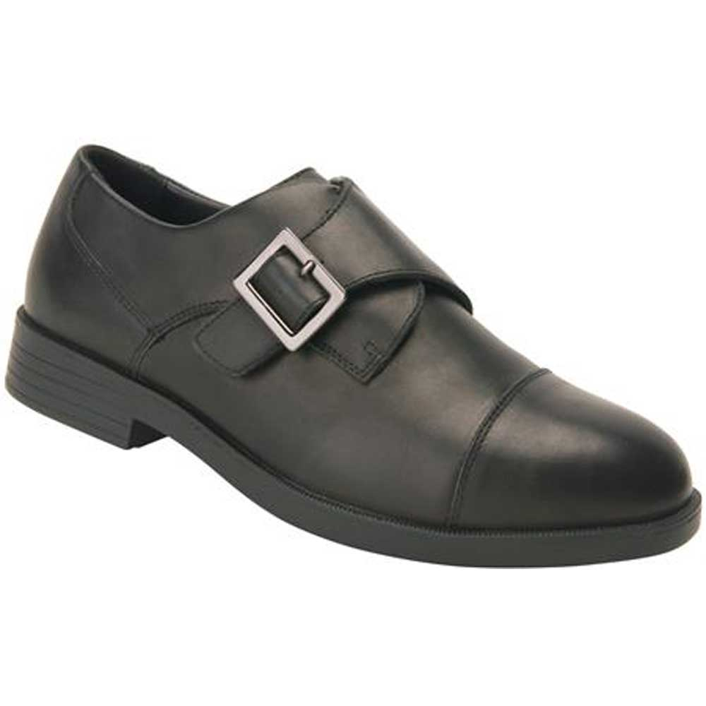 Wide Shoes Dark Brown Leather With Velcro Strap
