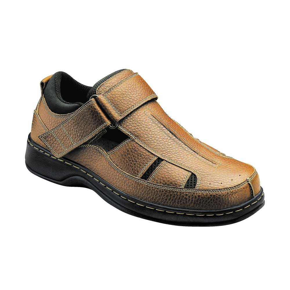 Orthofeet Shoes Melbourne 572 - Men's Comfort Therapeutic Diabetic Shoe - Sandal Shoe - Medium (D) - Extra Wide (4E) - Extra Depth for Orthotics