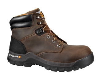 Rugged Flex Mens Brown Leather NWP Composite Safety Toe 6-inch lace-up Work Boot - Brown/Oil/Tanned