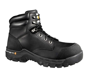 Rugged Flex Mens Black Leather Waterproof Composite Safety Toe 6-inch lace-up Work Boot - Black/Oiled Tanned