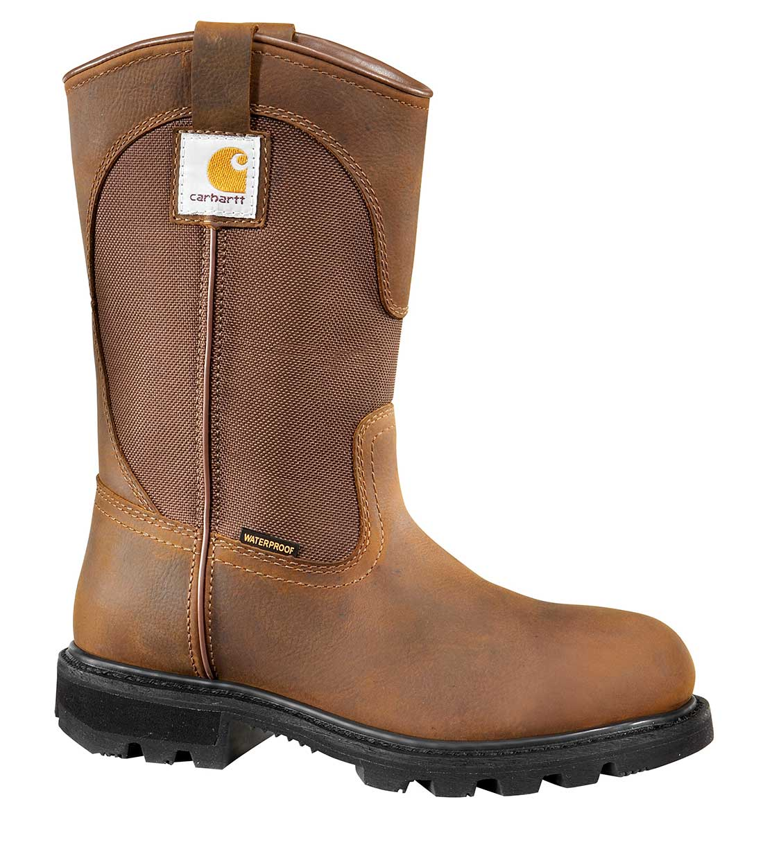 Carhartt Traditional Womens Brn Leather/Brn Fabric Lug Bottom Waterproof Soft Toe 10-inch Work Wellington