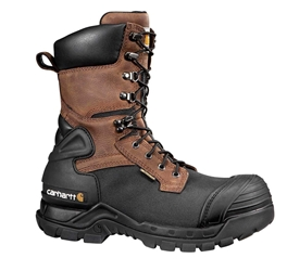 Carhartt Mens Blk PU Coated Waterproof Composite Safety Toe 10-inch Pac Boot - Brown/Oil/Tan/Black