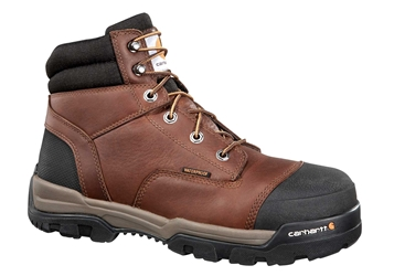 Carhartt Ground Force Mens Brown Leather Waterproof Soft Toe 6-inch lace-up Work Boot - Peanut/Oil/Leather
