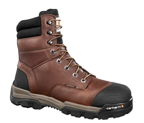 Ground Force Mens Brown Leather Waterproof Composite Safety Toe 8-inch lace-up Work Boot - Peanut/Oil/Leather