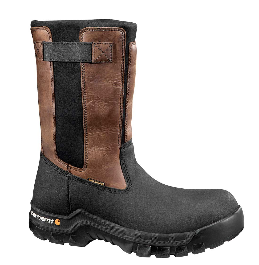 Carhartt Rugged Flex Men's Blk PU Coated Leather/Blk Neoprene with Brn Trim Waterproof 10-inch Pull-On Work Boot - Brown/Oil/Tan/Black
