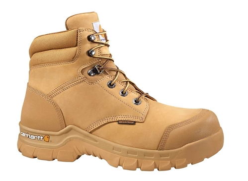 Carhartt Rugged Flex Men's Wheat Leather Waterproof Soft Toe 6-inch lace-up Work Boot - Wheat Nubuck