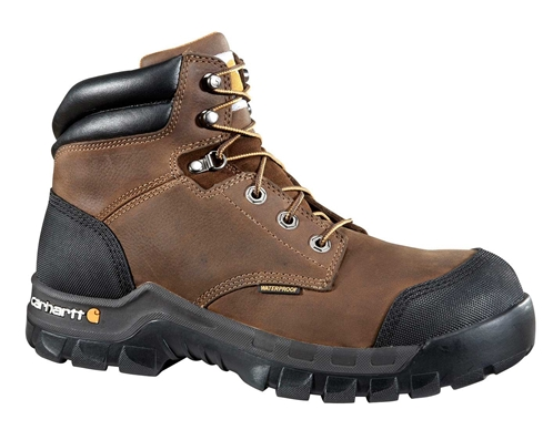 Rugged Flex Men's Brown Leather Waterproof Composite Safety Toe 6-inch lace-up Work Boot - Dark/Brown/Oil/Tan