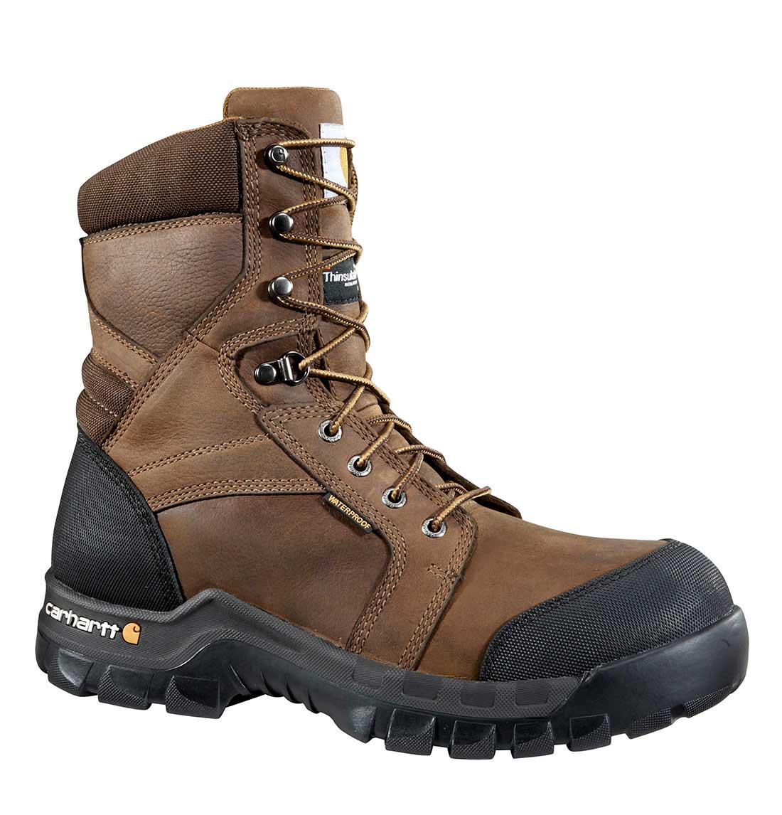 Rugged Flex Men's Brown Leather Waterproof Insulated Composite Safety Toe 8-inch lace-up Work Boot - Dark/Brown/Oil/Tan