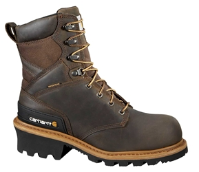 Carhartt Woodworks Mens Brown Leather Waterproof Composite Safety Toe 8-inch Climbing Boot