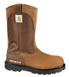 Carhartt Core Mens Bison Brn Leather/ Brn Fabric Waterproof Soft Toe 11-inch Work Wellington