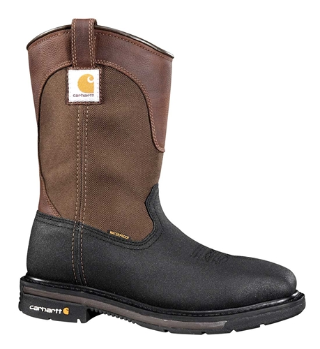 Carhartt Rugged Flex Square Toe Men's Blk PU Coated Leather/Brn Fabric Wtrprf Steel Safety Toe 11-inch Work Wellington