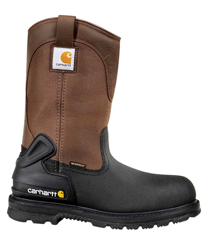 Carhartt Core Men's Blk PU Coated Leather/Brn Fabric Waterproof Insulated Steel Safety Toe 11-inch Work Wellington