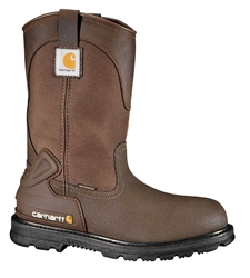 Carhartt Core Mens Brn PU Coated Leather/Brn Fabric Waterproof Steel Safety Toe 11-inch Work Wellington