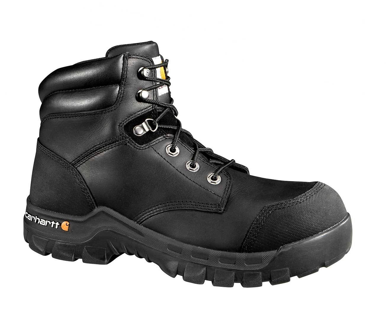 Puncture Resistant Men's Black Leather Rugged Flex Waterproof Composite Safety Toe 6-inch Work Boot
