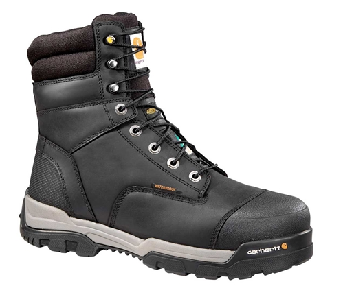 Puncture Resistant Men's Black Leather Ground Force Waterproof Composite Safety Toe 8-inch Work Boot