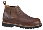Carhartt - CMS4100 - Men's Brown Leather Waterproof Soft Toe 4-inch Romeo Slip-On Work Boot - Medium - Wide