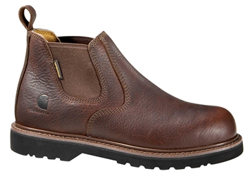 Carhartt Mens Brown Leather Waterproof Steel Safety Toe 4-inch Romeo Slip-On
