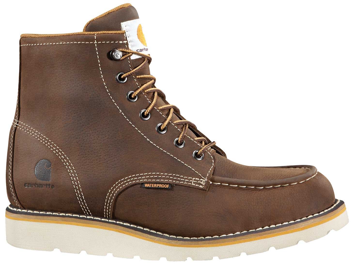 Carhartt Mens Brown Leather Waterproof Moc-Toe Wedge Soft Toe 6-inch lace-up Work Boot