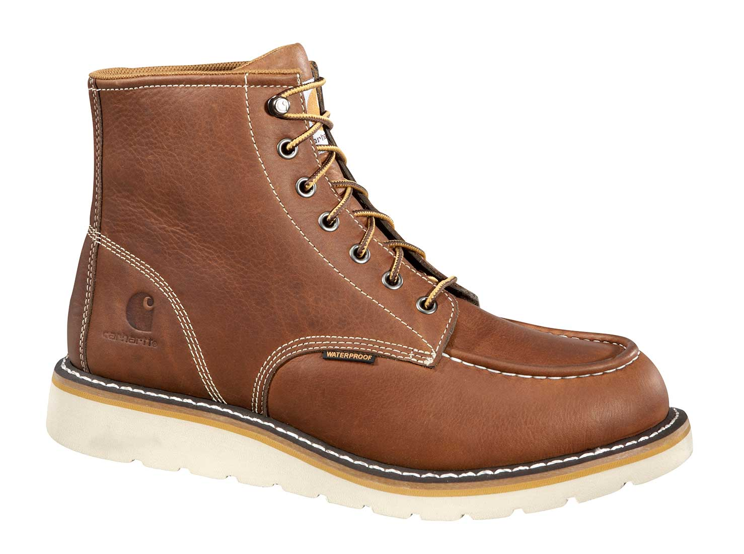 Carhartt Mens Tan Leather Waterproof Moc-Toe Wedge Soft Toe 6-inch lace-up Work Boot