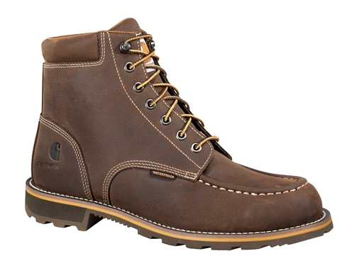 Carhartt Traditional Men's Brown Leather Moc Toe Lug Bottom Waterproof Soft Toe 6-inch lace-up Work