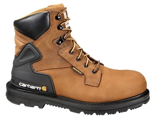 Carhartt Core Mens Bison Brown Leather Waterproof Steel Safety Toe 6-inch lace-up Work Boot