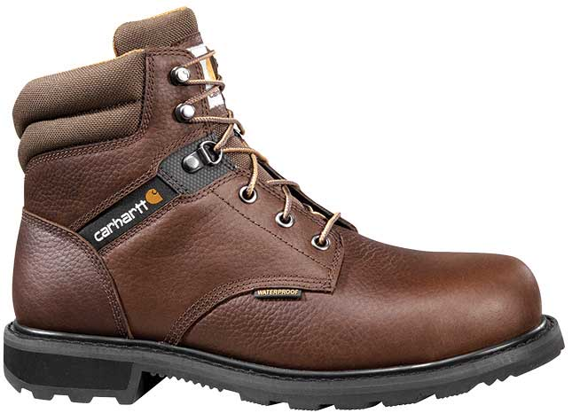 Carhartt Traditional Mens Brown Leather Lug Bottom Waterproof Steel Safety Toe 6-inch lace-up Work Boot
