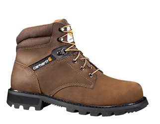 Carhartt Traditional Mens Brown Leather Lug Bottom NWP Steel Safety Toe 6-inch lace-up Work Boot