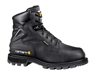 Carhartt Mens Black Leather Waterproof Lug Bottom Internal Met Guard Steel Safety Toe 6-inch lace-up Work Boot