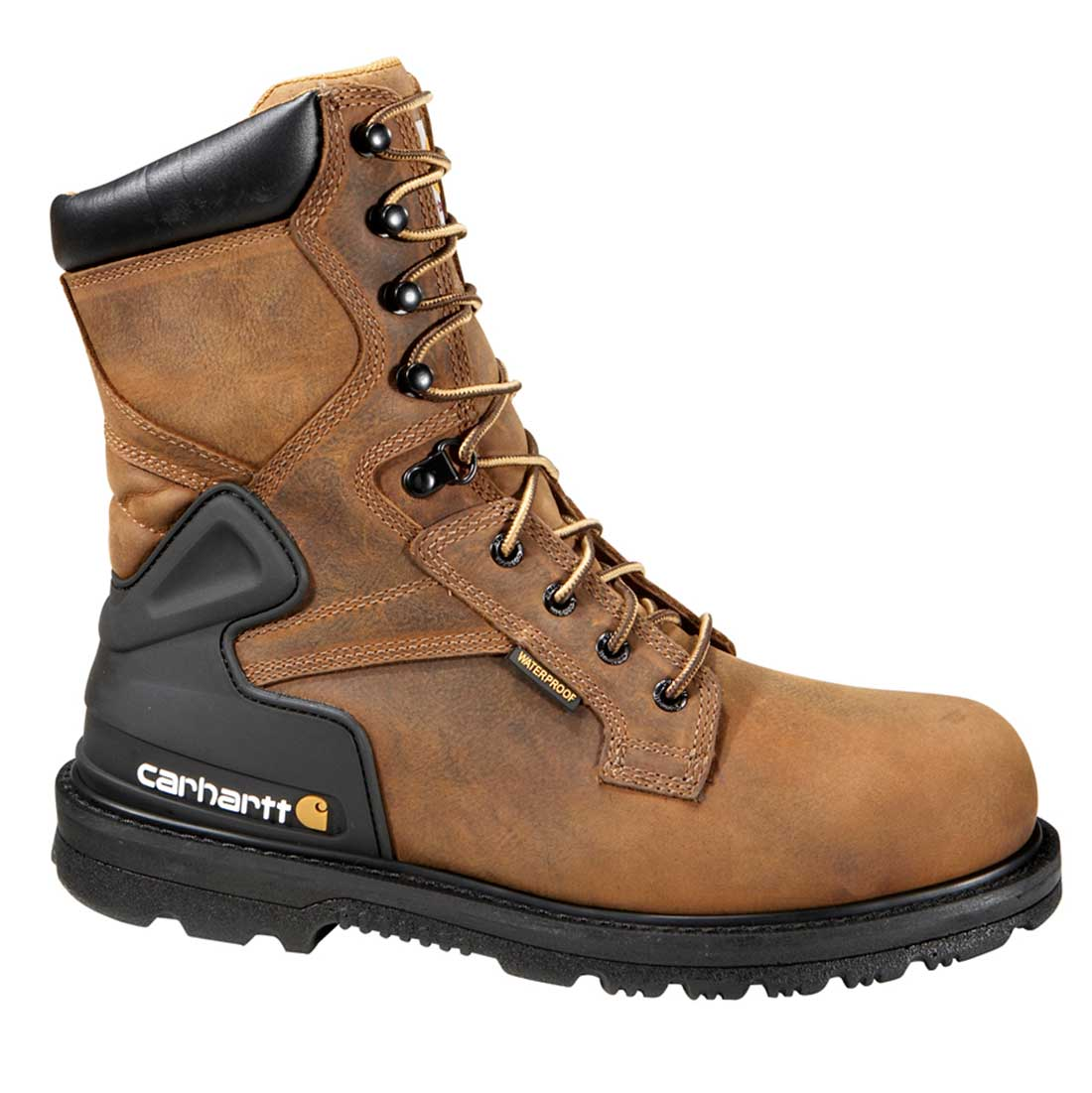 Carhartt Core Men's Bison Brown Leather Waterproof Steel Safety Toe 8-inch lace-up Work Boot