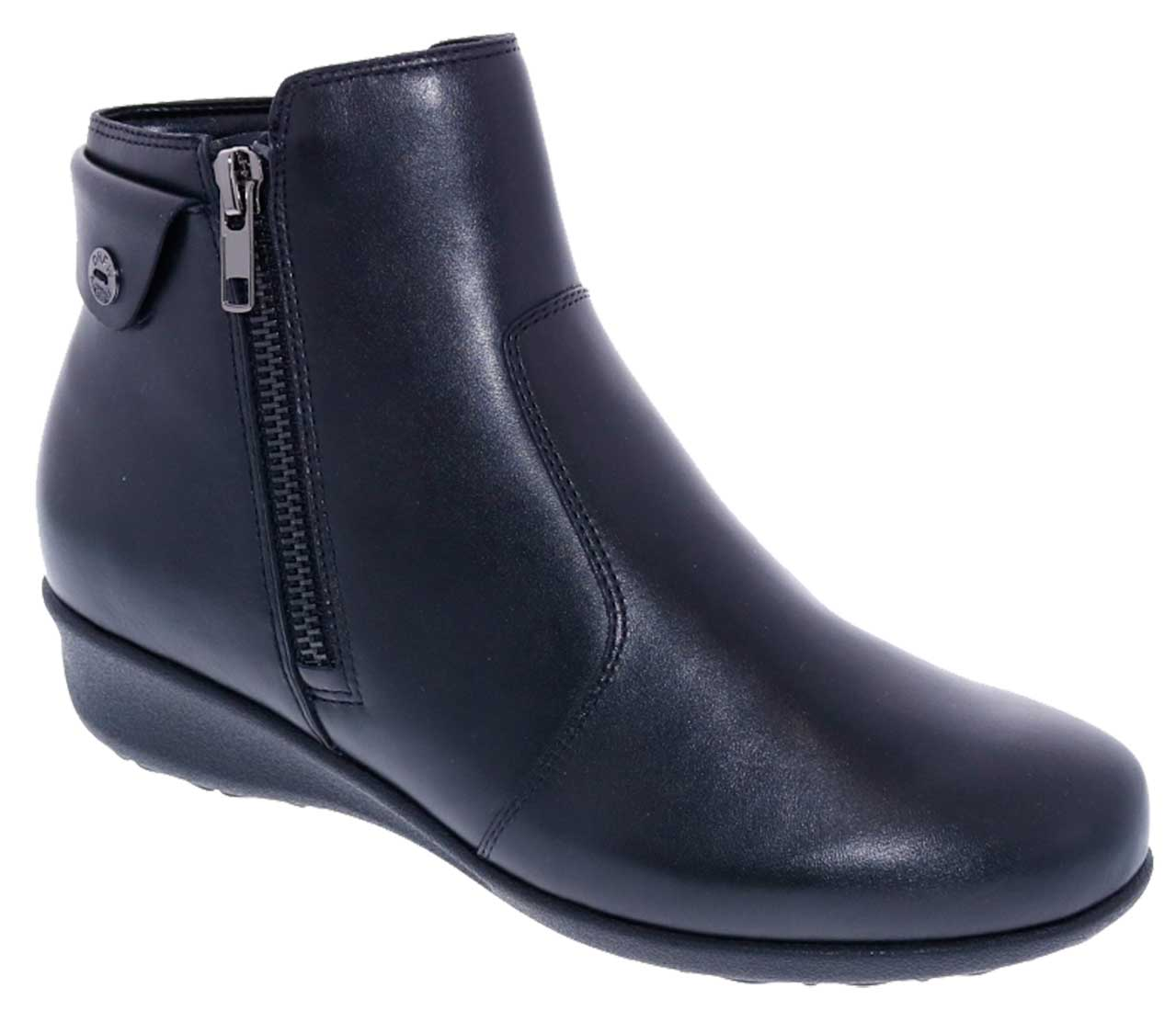Drew Shoes - Athens - Black Leather - Boot with Zippers