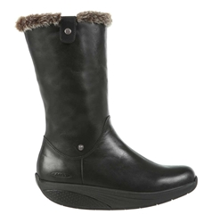 MBT Shoes Womens Belle Mid Cut Boots - Black Nappa