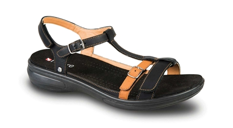 Revere - Milan - Black & Tan - Womens Sandal
