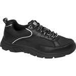 Drew Shoes - Athena - Black Leather / Mesh with Silver - Athletic Shoe