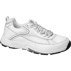 Drew Shoes - Athena - White Leather / Mesh with Grey - Athletic Shoe