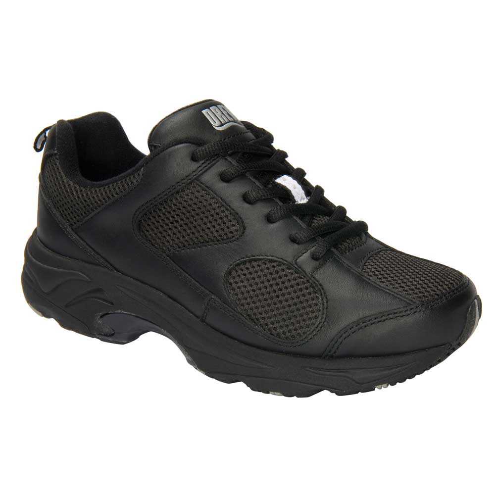 Drew Shoes - Flash - Black Leather / Black Mesh - Athletic Shoe