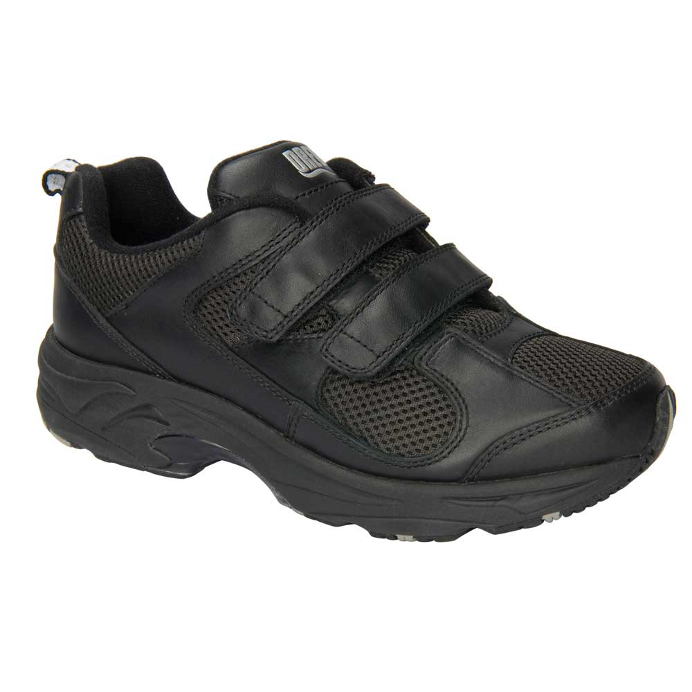 Drew Shoes - Flash II V - Black Leather / Black Mesh - Athletic Shoe