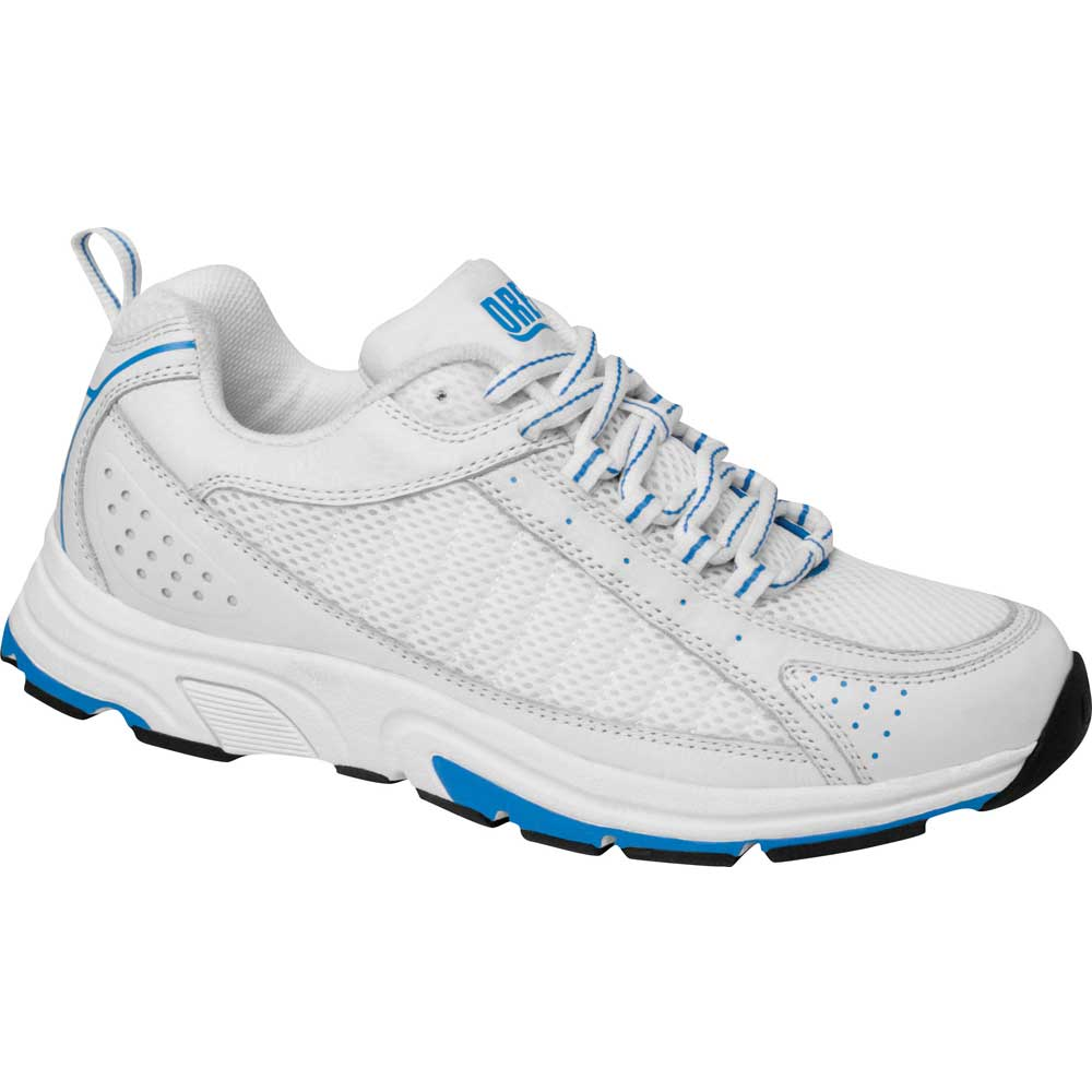 Drew Shoes - Helia - White / Blue Leather / Mesh - Athletic Shoe