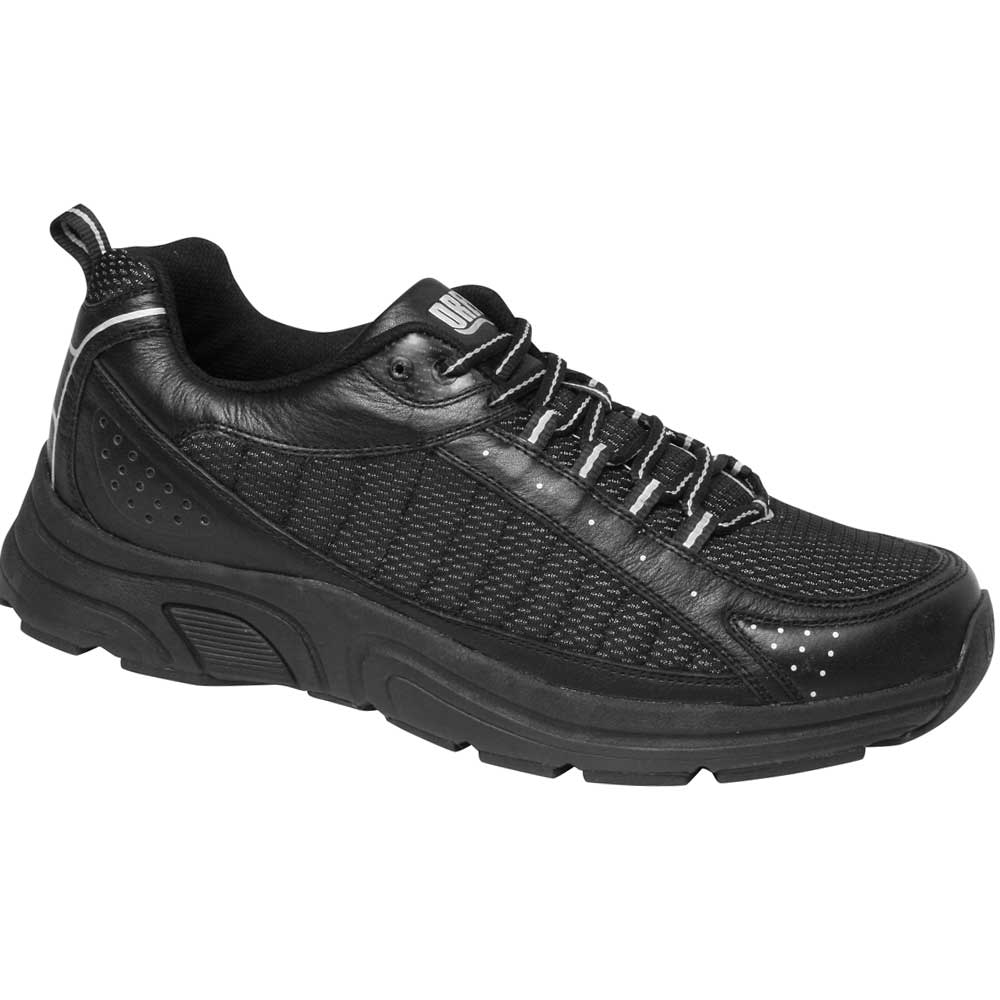 Drew Shoes - Jeremy - Black / Silver Leather / Mesh - Athletic Shoe