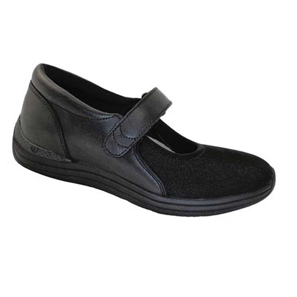 Drew Shoes - Magnolia - Black Leather and Lycra (Stretch) - Casual Shoe