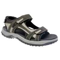 Drew Shoes - Warren - Black / Grey Nubuck Leather - Sandal